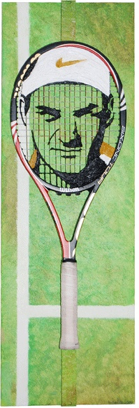 Title: Who Framed Roger Federer? - Tennis String, Wilson BLX Tennis Racquet, and Oil Paint on 36in x 12in Canvas  SOLD