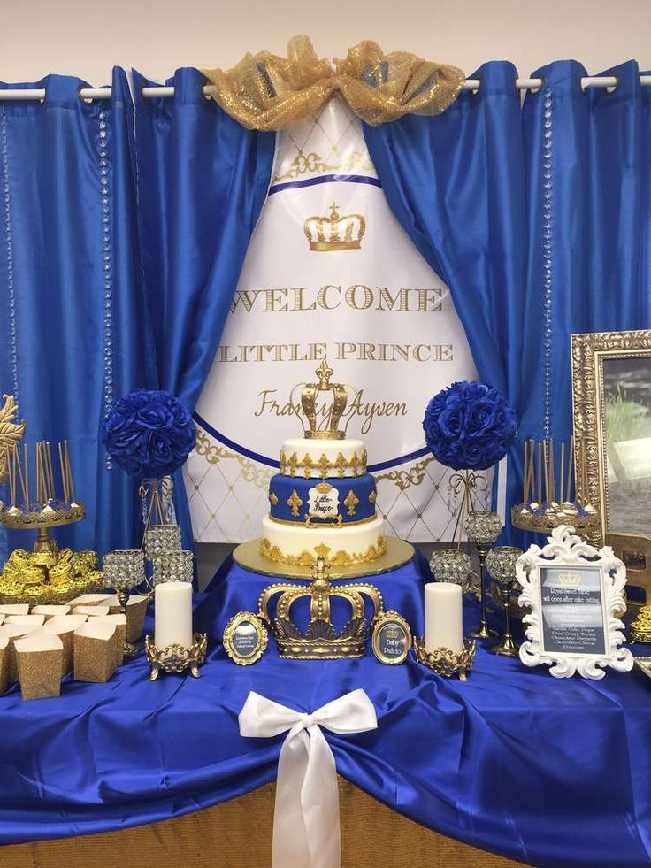 Royal prince baby shower dessert table! See more party ideas at http://CatchMyParty.com!