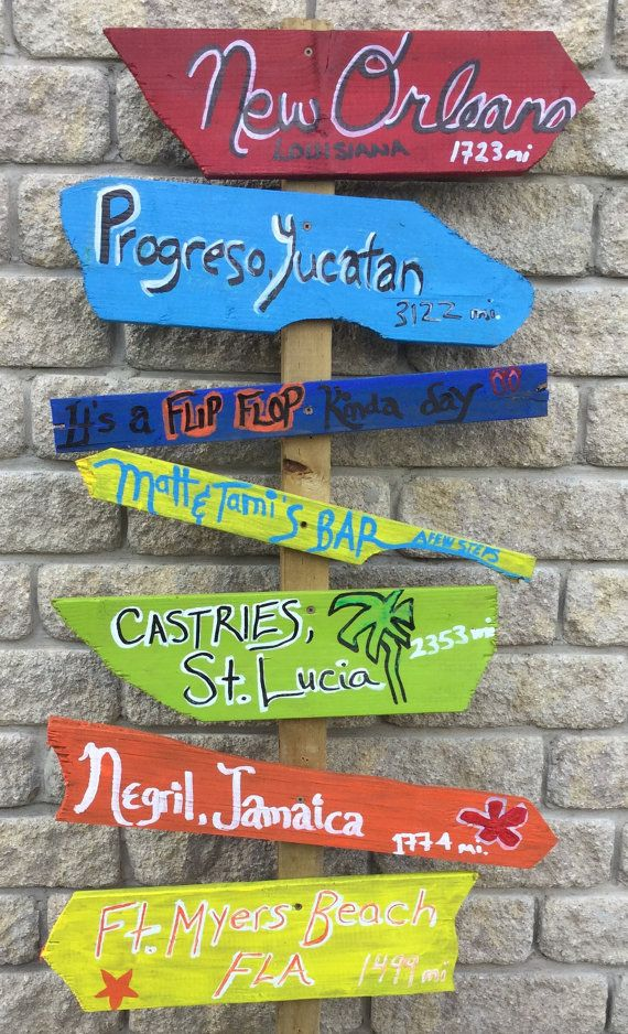 Directional Signs Arrow Signs Mileage Signs Tropical Wooden Signs Key West Signs