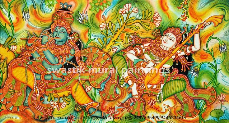 kerala mural painting ...radhamadhavam #swastikmuralpaintings #keralamuralpainting #painting #muralart