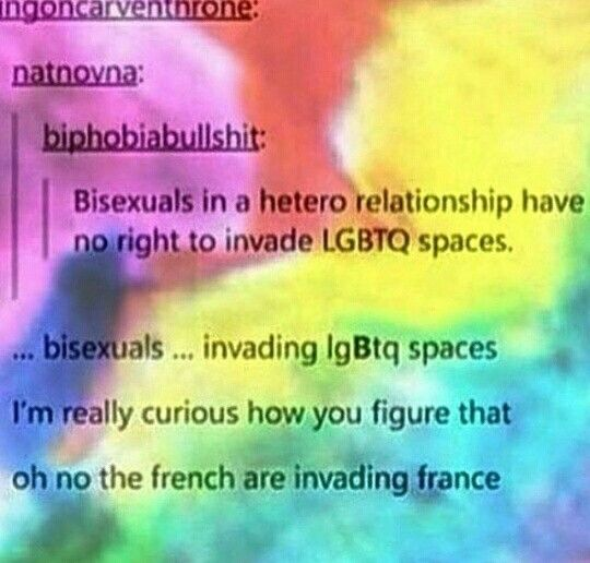 "Also, there's no such thing as a ""bi person in a hetero relationship"". They are a bi person in a bi relationship.  Bisexual women don't become straight when dating men, nor do they become gay when dating women. (Same goes for other genders).  Bisexuals are ALWAYS Bi, regardless of who they're in a relationship with.  If you need to reference gender then say: bi person in a same / differently gendered relationship."