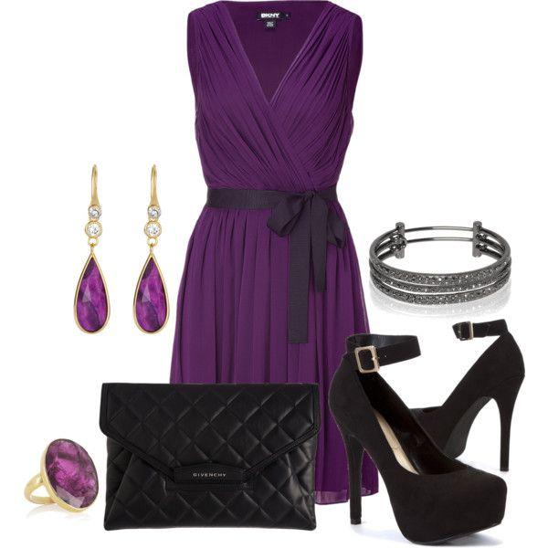 Purple Pleated Dress by lisamoran on Polyvore