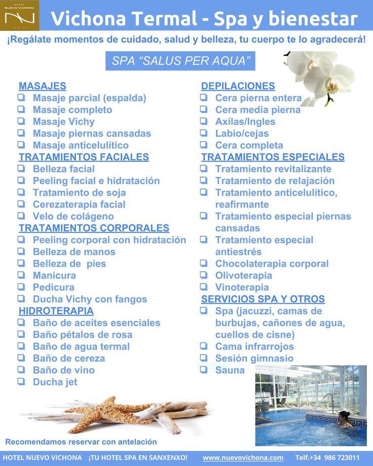 """""""Vichona Termal - Spa y Bienestar"""" Carta de tratamientos de salud y belleza.  HOTEL NUEVO VICHONA. Hotel Spa en Sanxenxo - Galicia"""