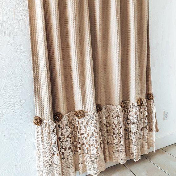 Shabby Chic Shower Curtain Crochet Shower Curtain Burlap