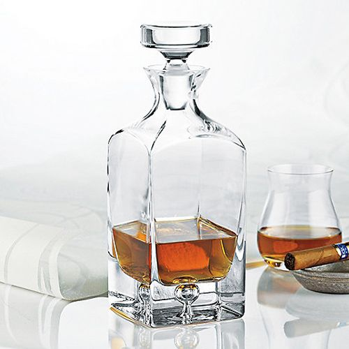 Decant your favorite fine whiskey with this Contemporary Decanter. Not only will it keep your whiskey ready at an arm's length, but it's made with weighty, high-quality mouth-blown glass. With a chic, ...  Find the Contemporary Decanter, as seen in the Bar Collection at http://dotandbo.com/category/kitchen-and-dining/glassware-and-bar/bar?utm_source=pinterest&utm_medium=organic&db_sku=TWE0007