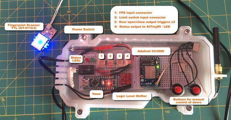 Garage door monitor/opener with finger print scanner