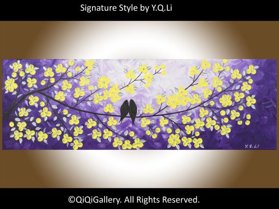 "Abstract painting Heavy Texture Impasto Palette Knife Tree Flower Love Birds ""Love and Romance"" by QIQIGALLERY"