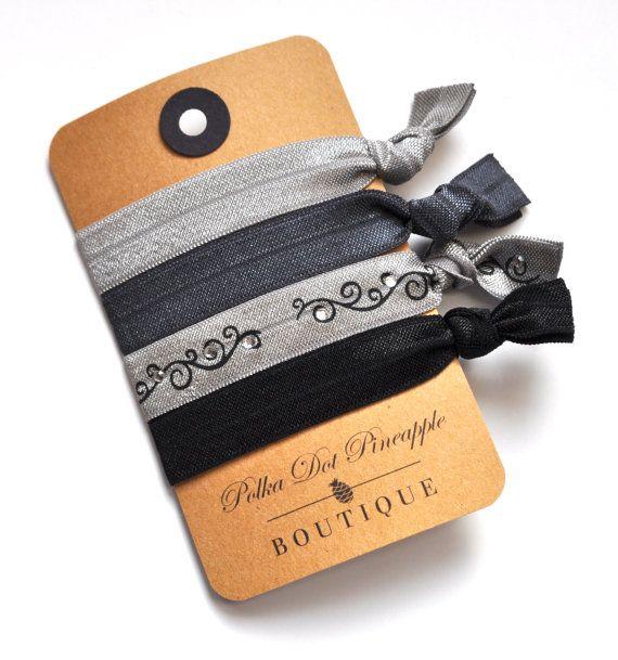 Gray Swirl Hair Tie Set -FOE Elastic Hair Ties by PolkaDotPineappleBoutique, $5.95 www.etsy.com/shop/polkadotpineappleb