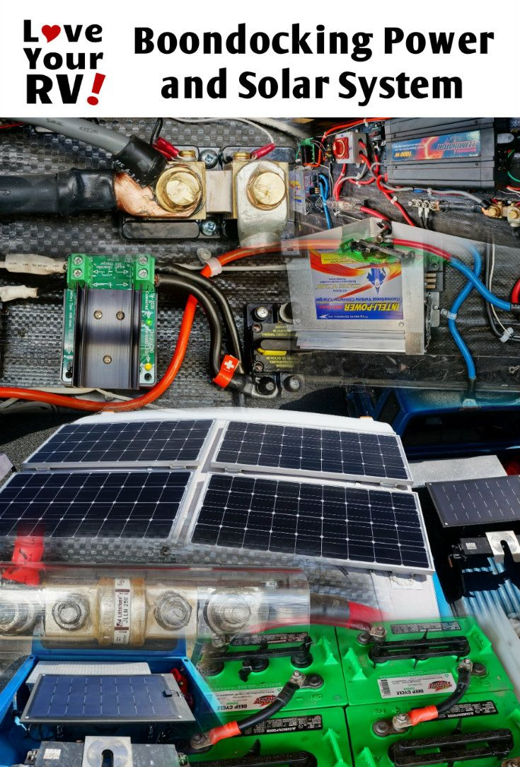 Details of our 500 watts 464 AH DIY Boondocking Power and Solar System by the Love Your RV blog - http://www.loveyourrv.com/ #RVing #solar #DIY