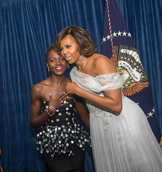Lovely Lupita with First Lady Michelle Obama President Obama White House Correspondents' Dinner, May 3, 2014