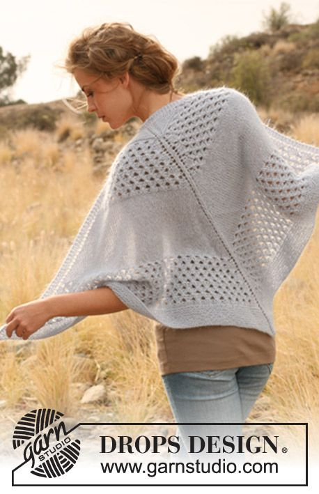 "Knitted DROPS shawl with pattern in ""Alpaca"" and ""Kid-Silk"". ~ DROPS Design - free"