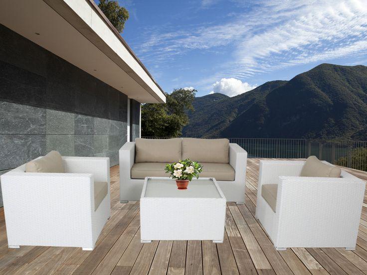 White Osiana 5 Piece Outdoor Furniture