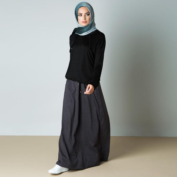 Shop our New Arrivals In-Store @eastshopping @broadwaybradford & Online aabcollection.com  Charcoal Knit Skirt Mini Black Hoody Grey to Black Ombre Hijab  #aabcollection #modestfashion