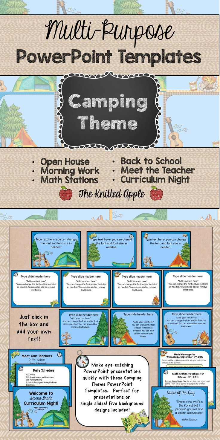 Camping Theme PowerPoint Templates for your camping theme classroom! Perfect for open house, curriculum night, and for daily use in your classroom.