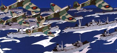Detail from panel 12 of the Overlord Embroidery, showing the Allied fleet at sea