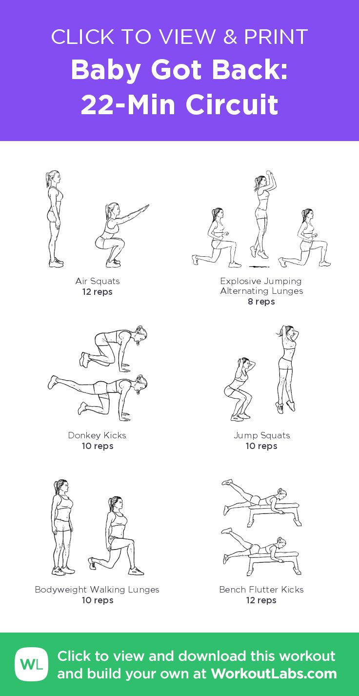 Baby Got Back: 22-Min Butt Circuit – click to view and print this illustrated exercise plan created with #WorkoutLabsFit