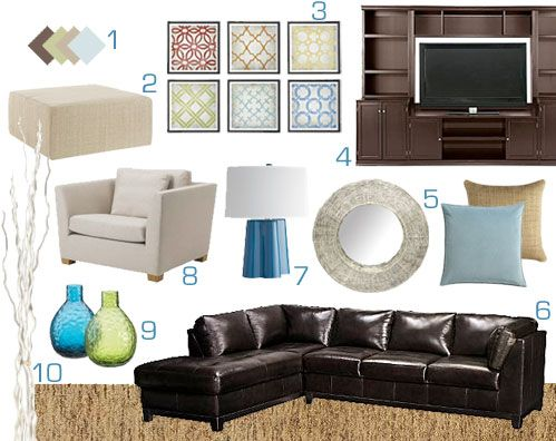Ashley's Design Dilemma | Young House Love-this color scheme includes rich chocolates, warm wheaty tan tones and pops of blue and green in the art and accessories, for the neutral tone on the walls, a soft, sandy tone which will make the whie trim pop Benjamin Moore Ashen Tan (the kitchen next to it was yellow)