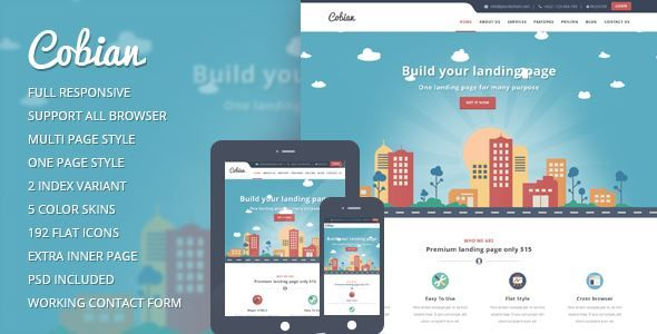 ThemeForest - Cobian flat bootstrap landing WordPress Theme Free Download