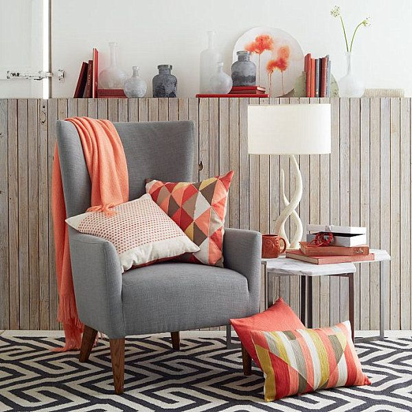 This is exactly how I want the nook chairs, 4 gray chairs in a circle with coral throws and pillows. I would like a sheepskin or white faux circular rug underneath. This would tie in the kitchen perfectly! Find a place to put the t.v. in discreetly and a way to close of the nook when watching tv.