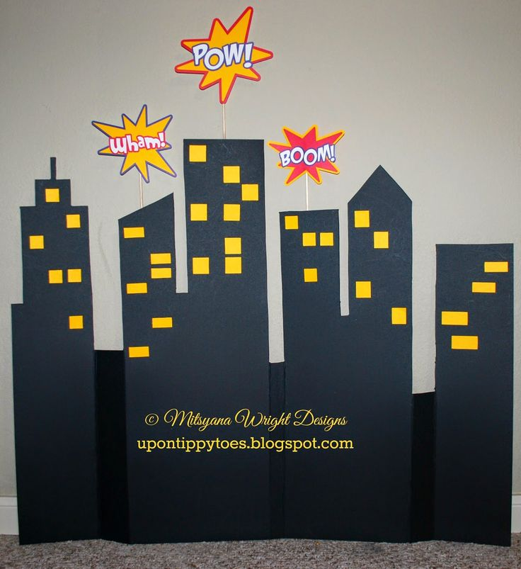 Up on tippy toes ~ Cityscape/ Skyline back-drop for candy buffet Spider-Man / Super Hero birthday party