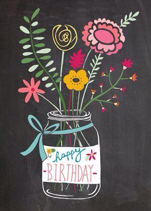 Happy Birthday - old fashioned flowers in jar