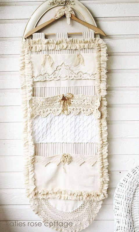 vintage lace pocket wall hanging