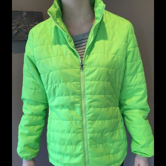 Champion Puffer Lightweight Waterproof Jacket In excellent new condition. Fun puffy neon green! No stains or flaws. No trades. Champion Jackets & Coats Puffers
