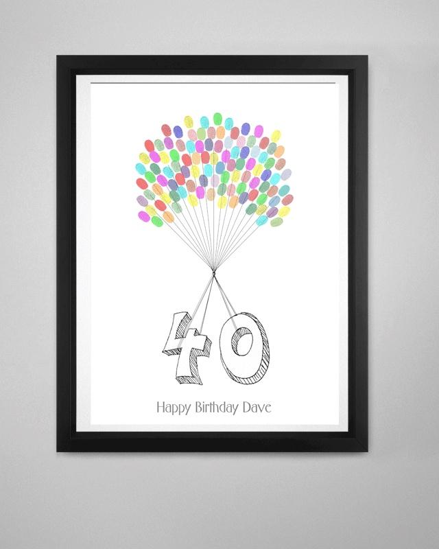 40th Birthday Fingerprint Kit Fingerprint Tree