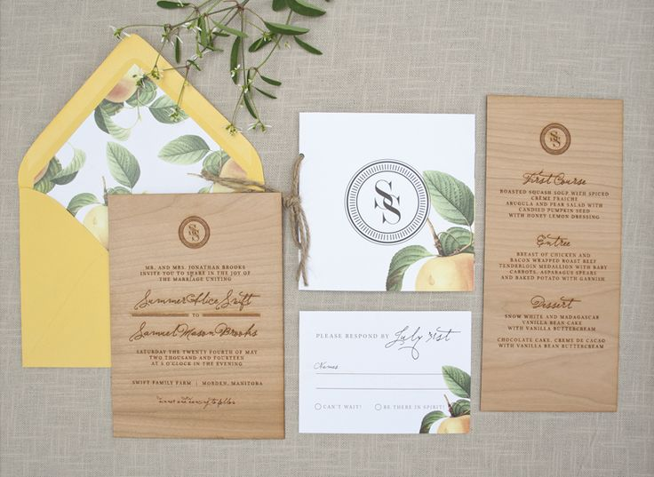 Elegant and Rustic Wood Engraved Wedding Invitations | Design and Photo Credits: Paper Airplanes