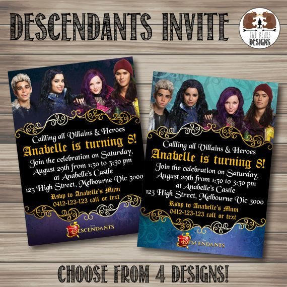 Collection Of Disney Descendants Birthday Party Invitations And Other Printables That Are Perfect For A Good Vs Evil Storybook