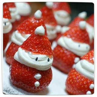 Strawberry Santas - this would also be nice with marshmallow creme, or bourbon flavoured cream