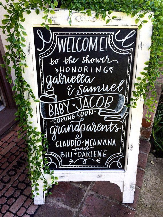 Chalkboard Easel/Wedding Chalkboard/Chalkboard with Stand/Baby Shower Chalkboard/Chalklettering/Chalkboard Sign/Birthday Chalkboard on Etsy, $75.00
