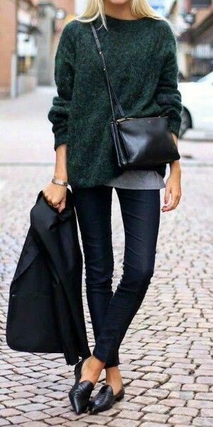 Oversized Dark Green Sweater + Dark Skinny Jeans + Black Flats + Crossbody Bag - Women's Fashion