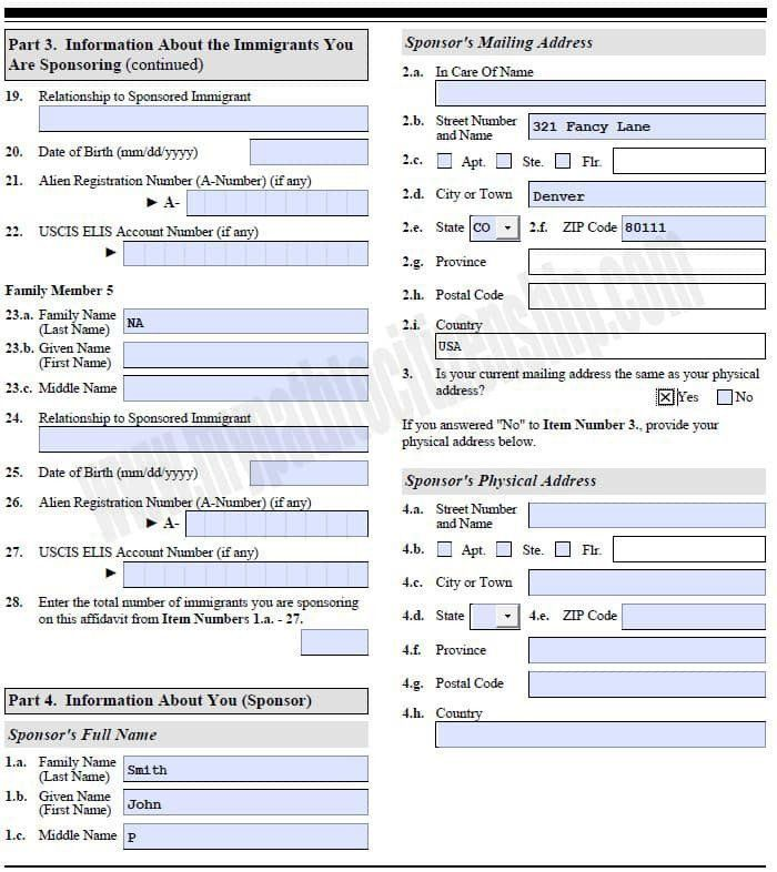 I 864 Fillable Form How To Fill Out Form I 864 Affidavit Support