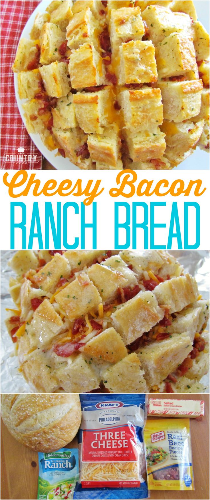 Cheesy Bacon Ranch Bread recipe from The Country Cook. This is so easy but it is always the hit at any party! It goes fast!