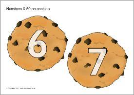 Getalkaarten voor kleuters, thema bakker / Numbers 0-50 on cookies (SB5038) - SparkleBox