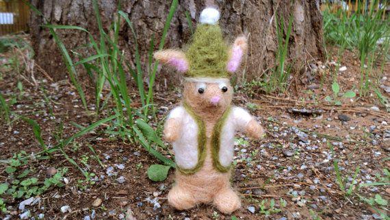 needle felted Santa's bunny elf by Kunuli on Etsy