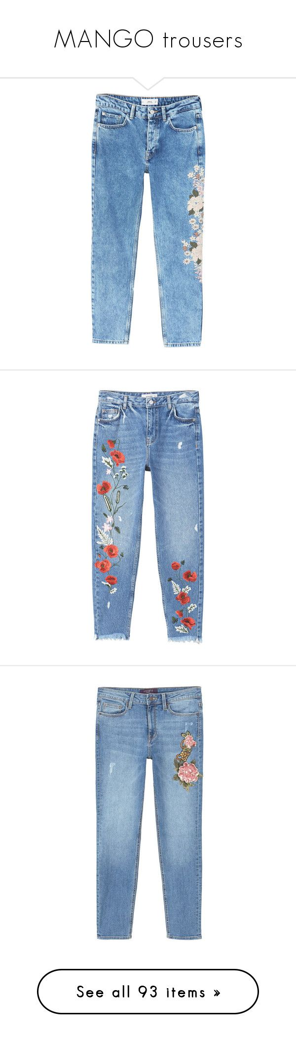 """MANGO trousers"" by alenasb ❤ liked on Polyvore featuring jeans, pants, bottoms, pantalon, calças, torn jeans, distressed straight-leg jeans, blue ripped jeans, blue distressed jeans and distressed zipper jeans"