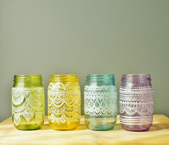 Painted, tinted mason jars as votives/candle holders (love this Etsy shop!)