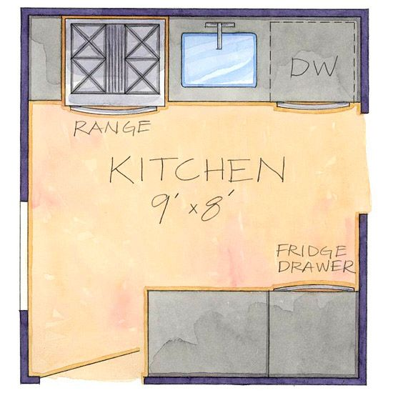43 best images about kitchen layout on pinterest stove for Most efficient kitchen layout