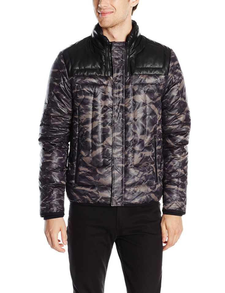 Calvin Klein Men's CK One Printed Nylon Puff Jacket, Officer Navy, Large