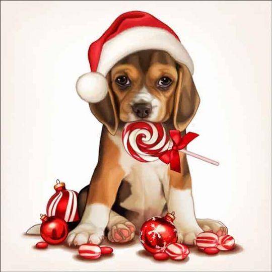 Cazenave Holiday Puppy Art Ceramic Accent & Decor Tile - MC2-008cAT