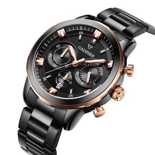 CADISEN Brand Men Watch Casual Sport Watches Men multifunction Business Quartz Wristwatches Waterproof relojes Men's watch clock