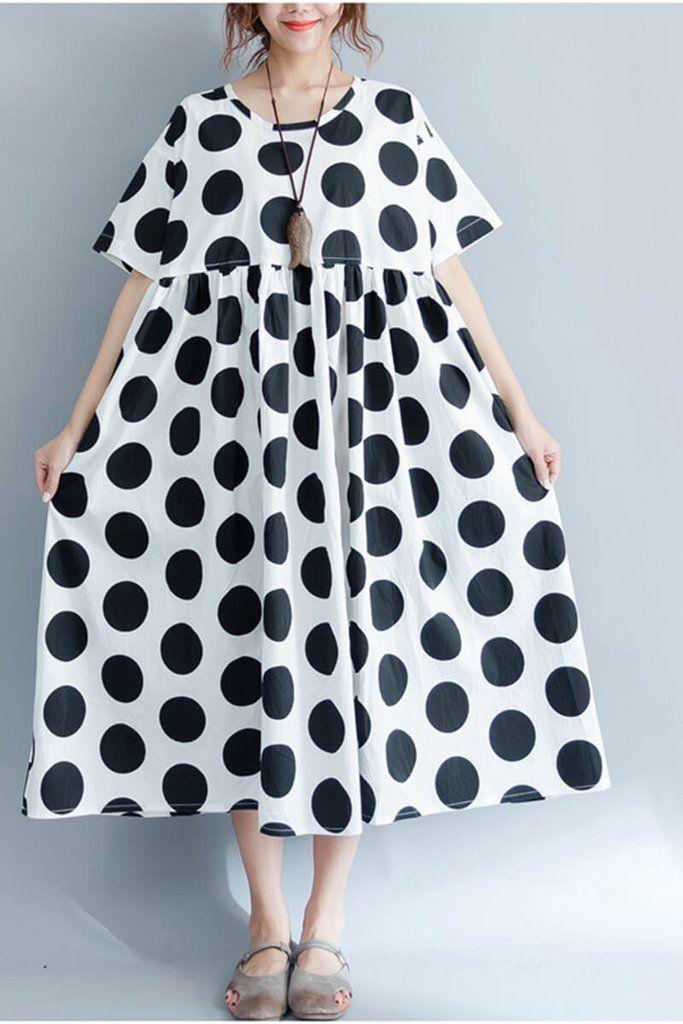 2017 Black Dot Casual Plus Size Loose Long Dress Women Clothes