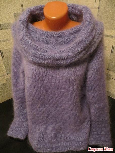 """Мохеровый свитер """"Неоновые зимние сумерки""""  Люблю зимние городские сумерки. Поэтому цвет пряжи мне подсказал фасон свитера."""