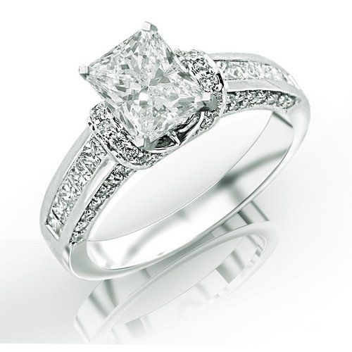 1.35 Carat GIA Certified Princess Cut / Shape Contemporary Channel Set Princess And Pave Round Cut Diamonds Engagement Ring