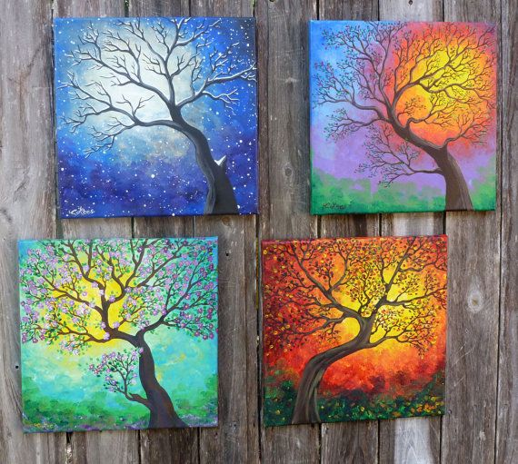 """FREE SHIPPING The Four Seasons - Set of 4 different 12""""x12"""" Original Paintings.Winter,Spring, Summer, Fall Gallery Wrapped Canvas on Etsy, $100.00"""