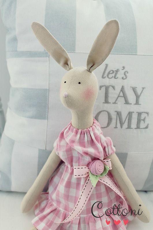 zabawki - misie i maskotki-Zajączek wiosenny  tildowy w sukience w kratkę