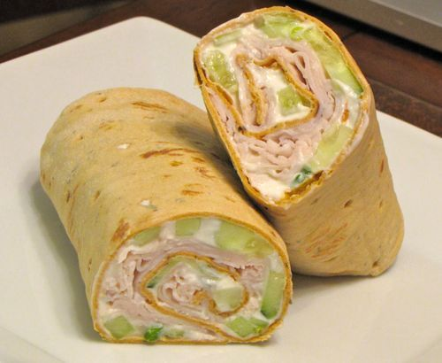 For two wraps (one wrap shown above):    2 slices of very thin flatbread (like Flat Out)  1 cucumber, peeled and diced   1 stalk green onion, minced  3 laughing cow cheese wedges (creamy swiss/ french onion)  5 oz plain greek yogurt   2 tsp. ranch powder  4 slices of deli quality oven roasted turkey   One wrap will come out to about 300-400 calories a wrap