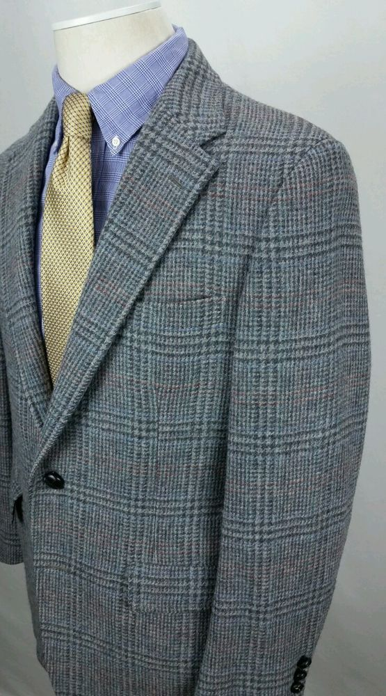 Vintage PALM BEACH Bespoke Tweed  Wool Sport Coat Blazer Jacket Glen Plaid Gray #PalmBeach #TwoButton